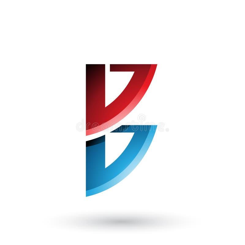 Roter und blauer Bogen wie die Form von Buchstaben B lokalisiert auf einem weißen Hintergrund lizenzfreie abbildung