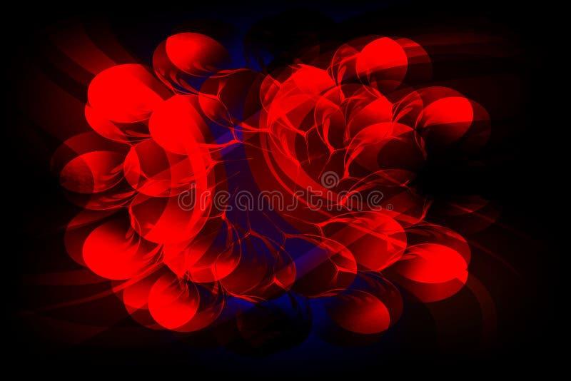 Roter und blauer gewellter schattierter Hintergrund des abstrakten Vektors mit Beschaffenheit von Blumen treiben Blätter, vector  stock abbildung
