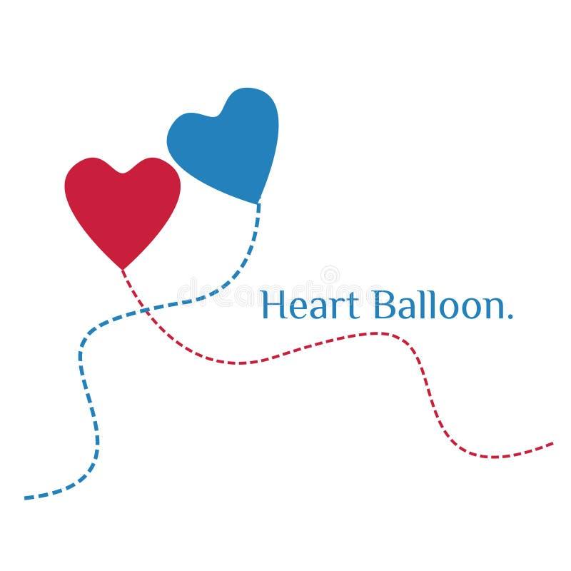 Roter und blauer Herz-Ballon stockfoto