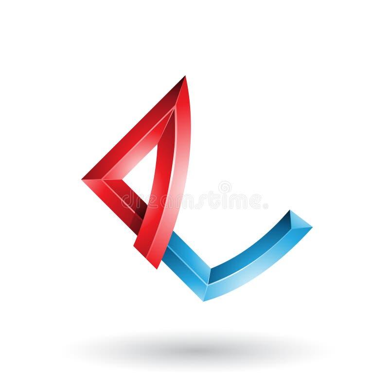 Roter und blauer prägeartiger Buchstabe E mit den verbogenen Gelenken lokalisiert auf einem weißen Hintergrund stock abbildung