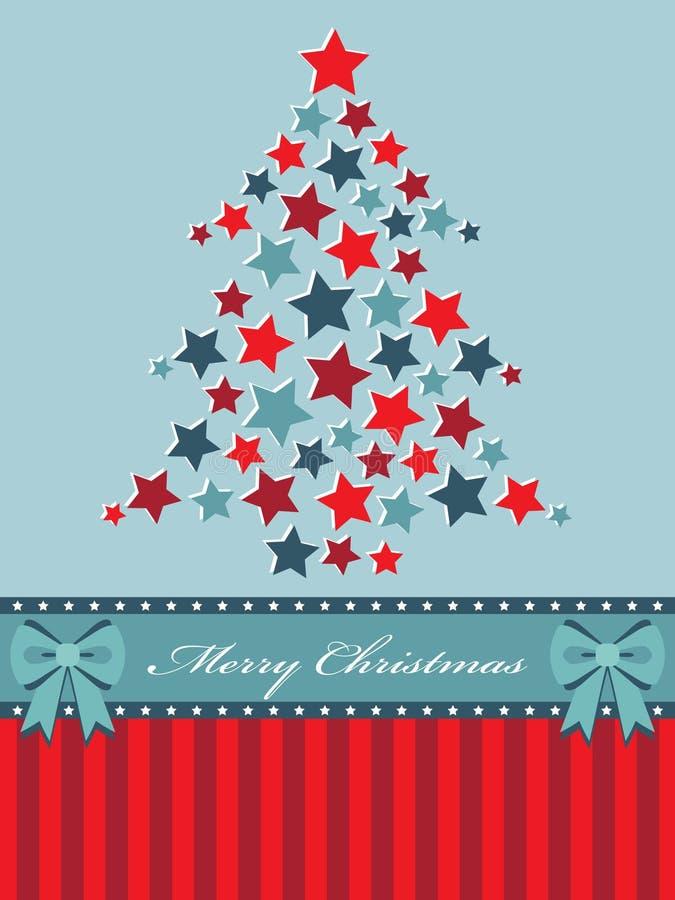 Roter und blauer Weihnachtsbaum lizenzfreie abbildung