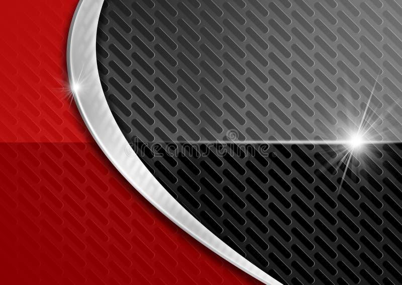 Roter und dunkler Metallzusammenfassungs-Hintergrund stock abbildung