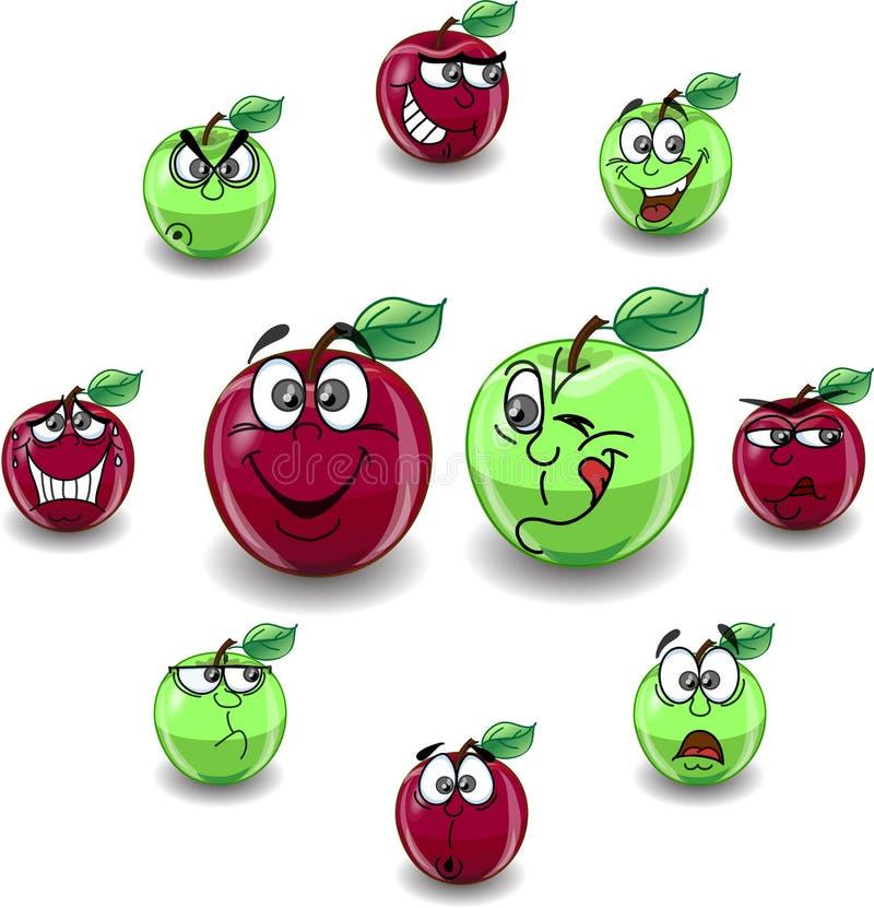Roter und grüner Apfel stock abbildung