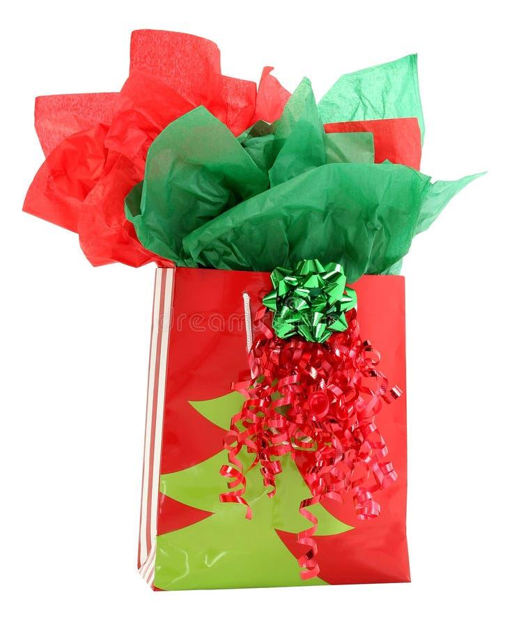 Roter und grüner Geschenk-Feiertags-Geschenk-Beutel lizenzfreies stockbild