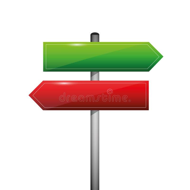 Roter und grüner leerer Richtungswegweiser-Zeichenpfeil gelassen und recht stock abbildung