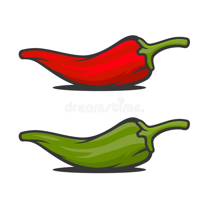 Roter und grüner mexikanischer Jalapeno heißer Chili Peppers Icons Set Vektor stock abbildung