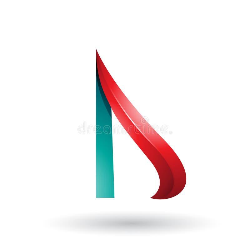 Roter und grüner prägeartiger Pfeil ähnlicher Buchstabe D lokalisiert auf einem weißen Hintergrund stock abbildung