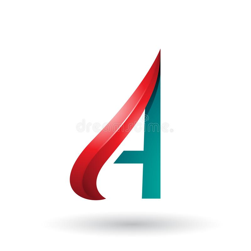 Roter und grüner prägeartiger Pfeil ähnlicher Buchstabe A lokalisiert auf einem weißen Hintergrund vektor abbildung