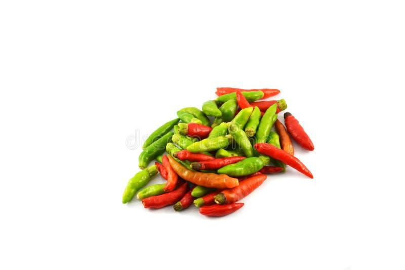 Roter und grüner thailändischer Paprikapfeffer lizenzfreies stockfoto
