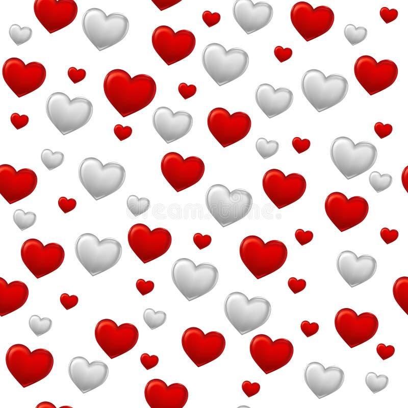Roter und grauer Herzhintergrund auf Weiß nahtlos stock abbildung