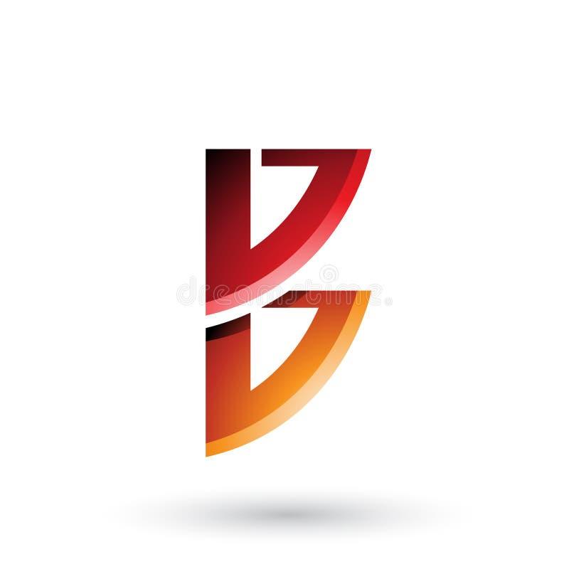 Roter und orange Bogen wie die Form von Buchstaben B lokalisiert auf einem weißen Hintergrund lizenzfreie abbildung