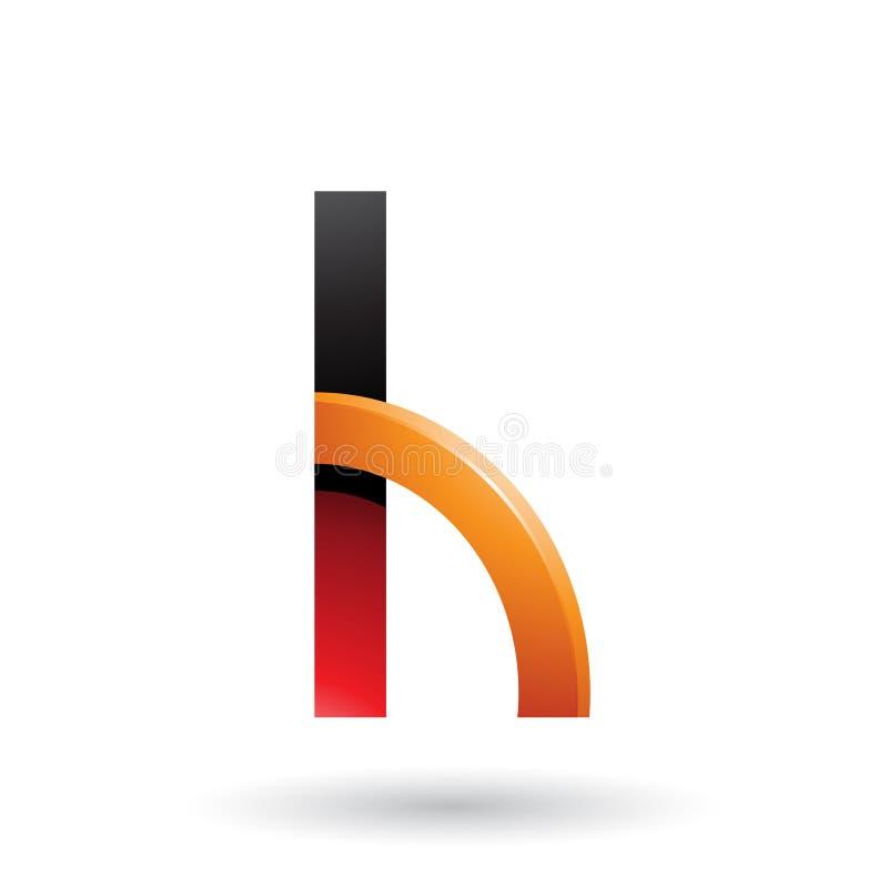 Roter und orange Buchstabe H mit einer glatten gebeugten Form lokalisiert auf einem weißen Hintergrund stock abbildung