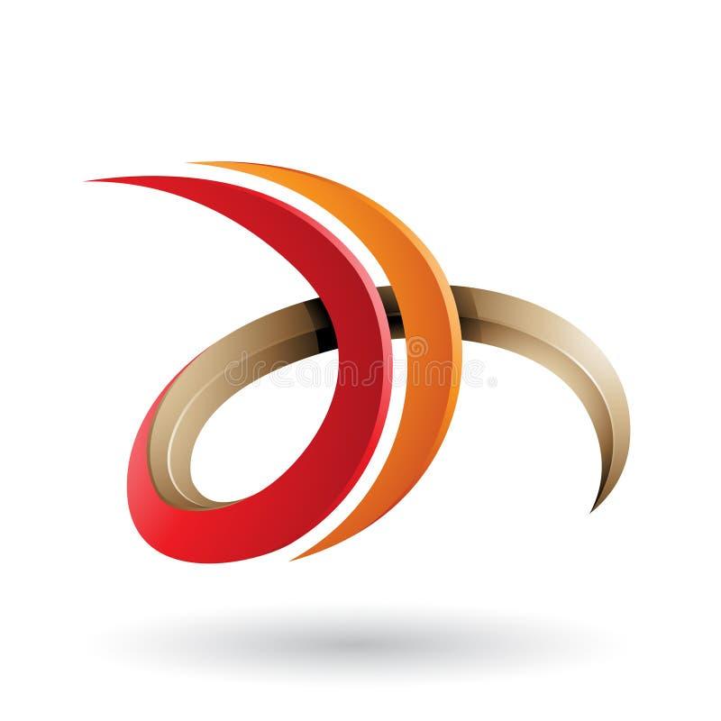 Roter und orange 3d gelockter Buchstabe D und H lokalisiert auf einem weißen Hintergrund stock abbildung