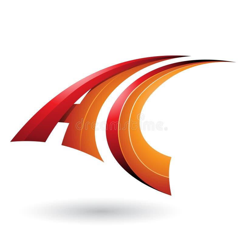 Roter und orange dynamischer fliegender Buchstabe A und C lokalisiert auf einem weißen Hintergrund lizenzfreie abbildung