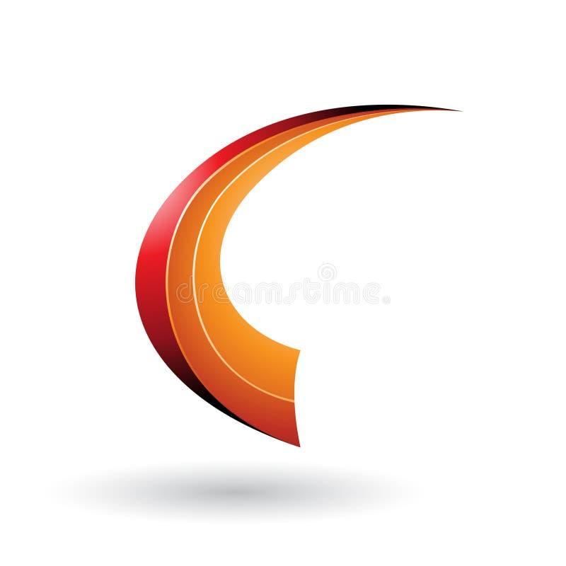 Roter und orange dynamischer fliegender Buchstabe C lokalisierte auf einem weißen Hintergrund stock abbildung