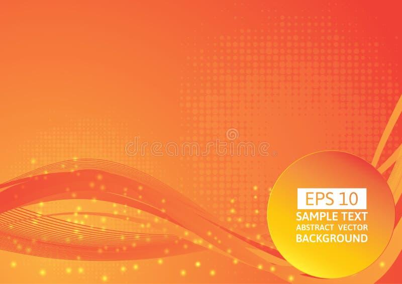 Roter und orange Farbwellen-Zusammenfassungshintergrund, Vektorillustration mit Kopienraum stock abbildung