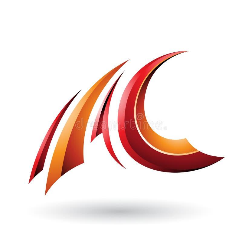 Roter und orange glatter fliegender Buchstabe A und C lokalisiert auf einem weißen Hintergrund stock abbildung