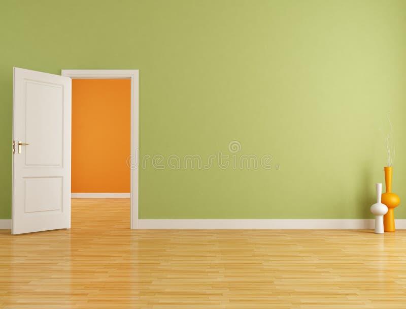Roter und orange leerer Innenraum lizenzfreie abbildung