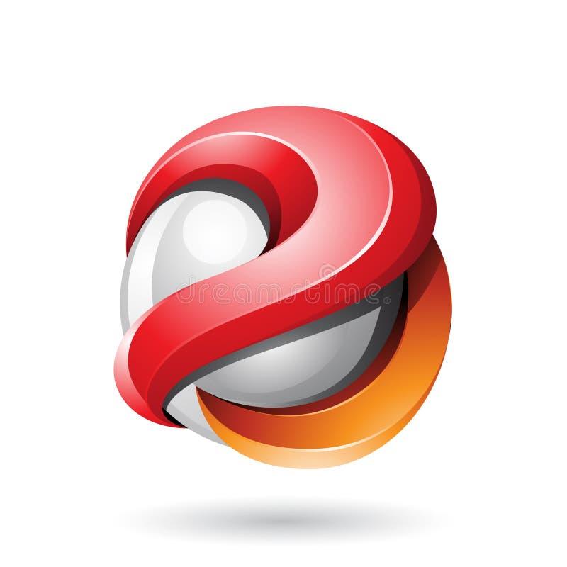 Roter und orange mutiger metallischer glatter Bereich 3d lokalisiert auf einem weißen Hintergrund stock abbildung
