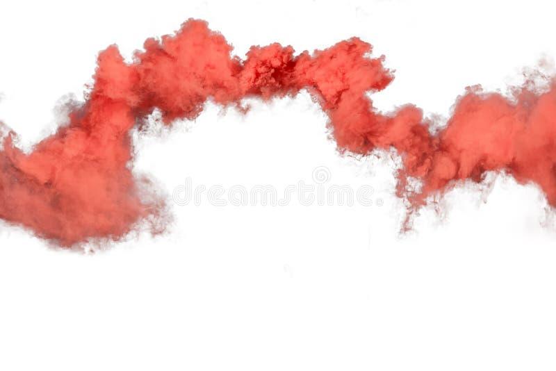 Roter und orange Rauch lokalisiert auf weißem Hintergrund stockbilder