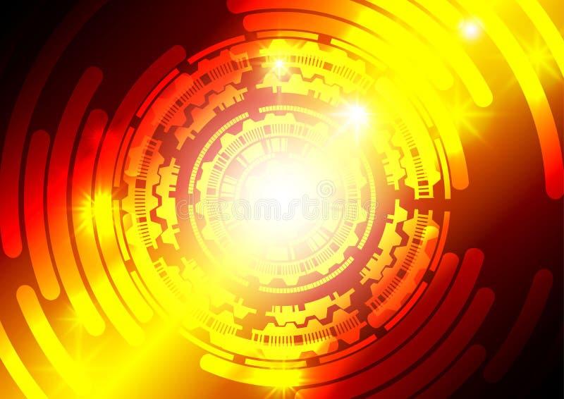Roter und orange Technologiezusammenfassungshintergrund stock abbildung
