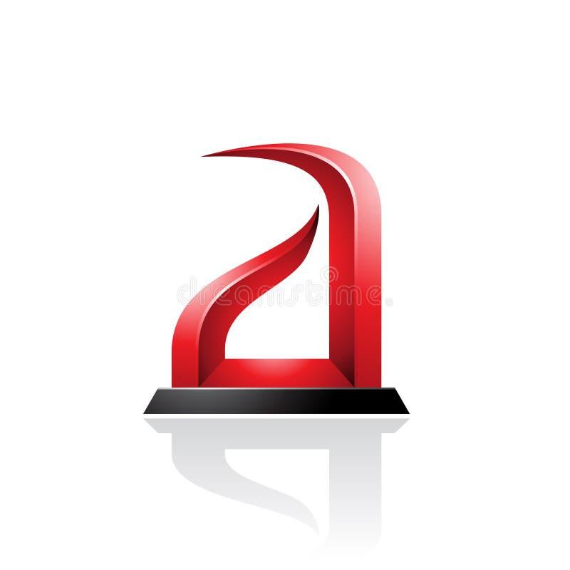 Roter und schwarzer Bogen ähnlicher prägeartiger Buchstabe A lokalisiert auf einem weißen Hintergrund vektor abbildung
