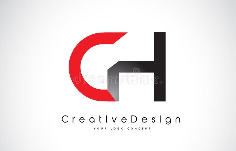Roter und schwarzer Buchstabe Logo Design CH C H Kreative Ikonen-modernes Buchstabe-Vektor-Logo lizenzfreie abbildung