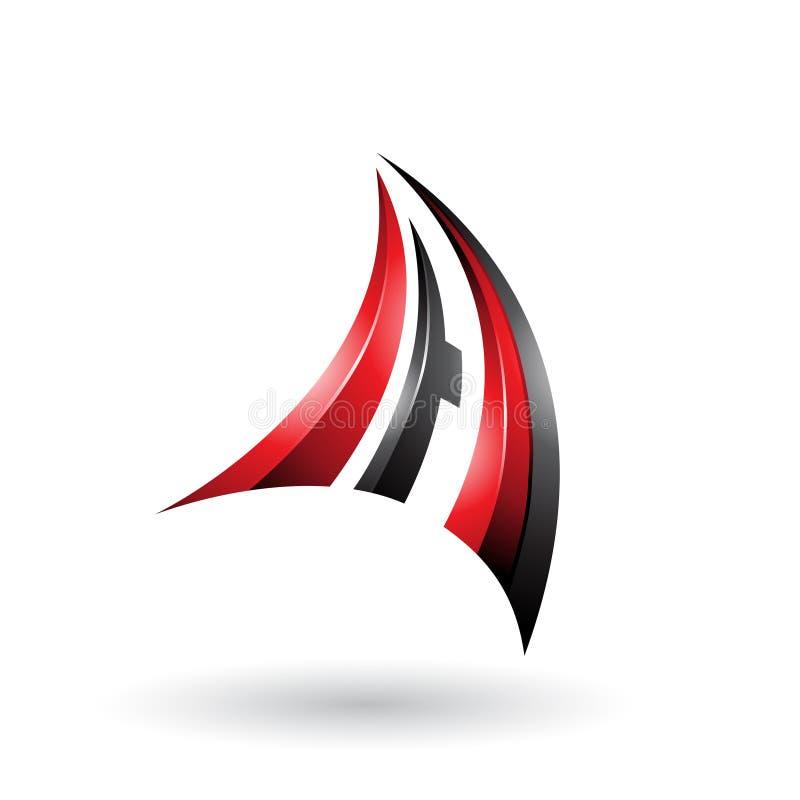 Roter und schwarzer dynamischer Buchstabe A des Fliegen-3d lokalisierte auf einem weißen Hintergrund stock abbildung