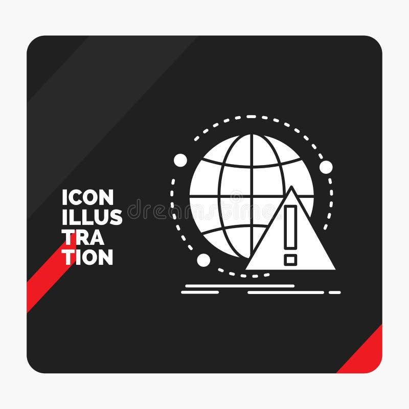 Roter und schwarzer kreativer Darstellung Hintergrund für Alarm, Antivirus, Angriff, Computer, Virus Glyph-Ikone vektor abbildung