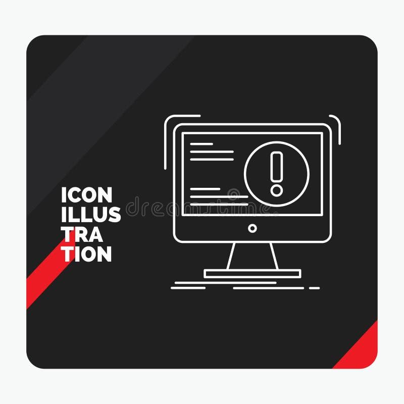 Roter und schwarzer kreativer Darstellung Hintergrund für Alarm, Antivirus, Angriff, Computer, Virus Linie Ikone stock abbildung