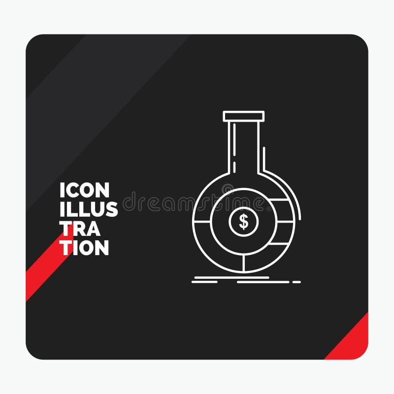 Roter und schwarzer kreativer Darstellung Hintergrund für Analyse, Analytics, Bankwesen, Geschäft, Finanzlinie Ikone vektor abbildung