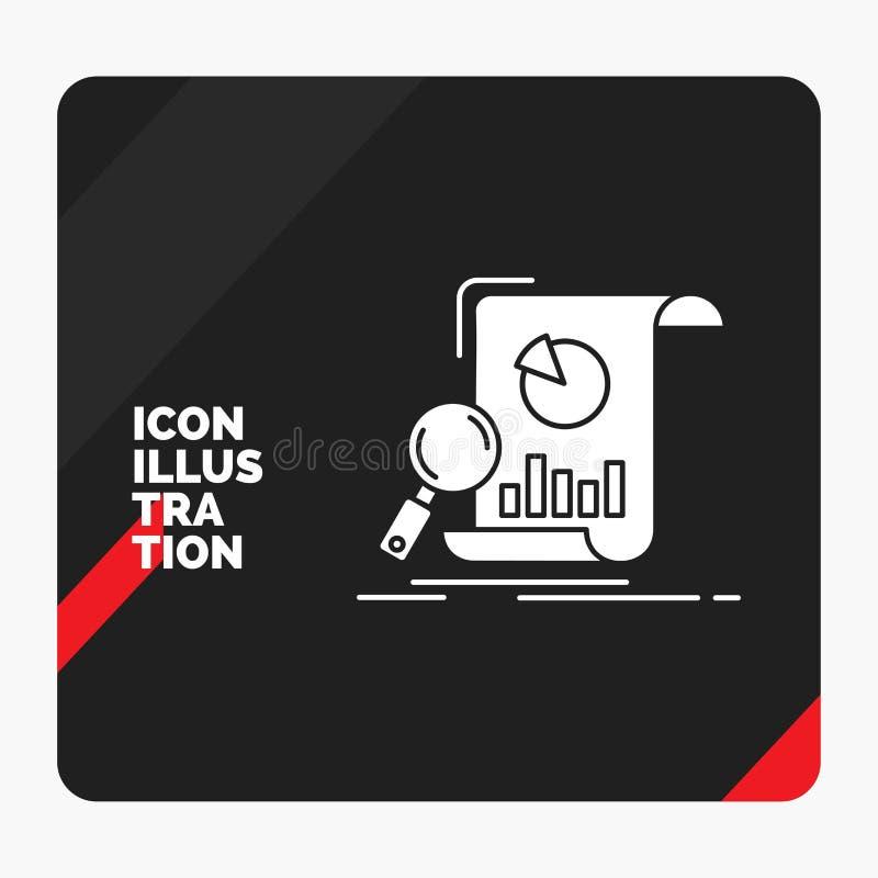 Roter und schwarzer kreativer Darstellung Hintergrund für Analyse, Analytics, Geschäft, finanziell, Forschung Glyph-Ikone vektor abbildung