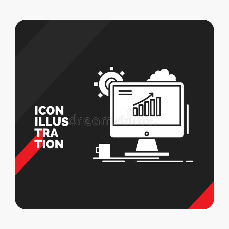 Roter und schwarzer kreativer Darstellung Hintergrund für Analytics, Diagramm, seo, Netz, Glyph-Ikone einstellend vektor abbildung