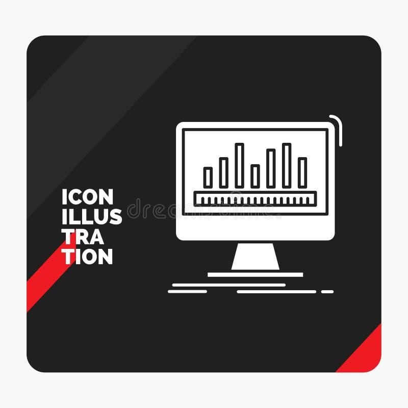 Roter und schwarzer kreativer Darstellung Hintergrund für Analytics, verarbeitend, Armaturenbrett, Daten, Notfall-Glyph-Ikone lizenzfreie abbildung