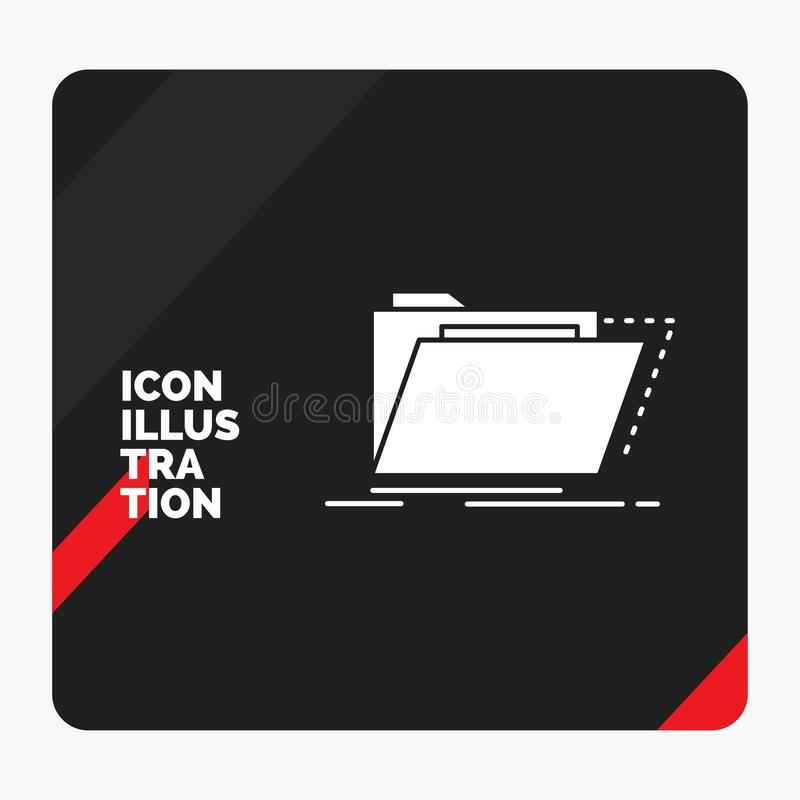 Roter und schwarzer kreativer Darstellung Hintergrund für Archiv, Katalog, Verzeichnis, Dateien, Ordner Glyph-Ikone stock abbildung