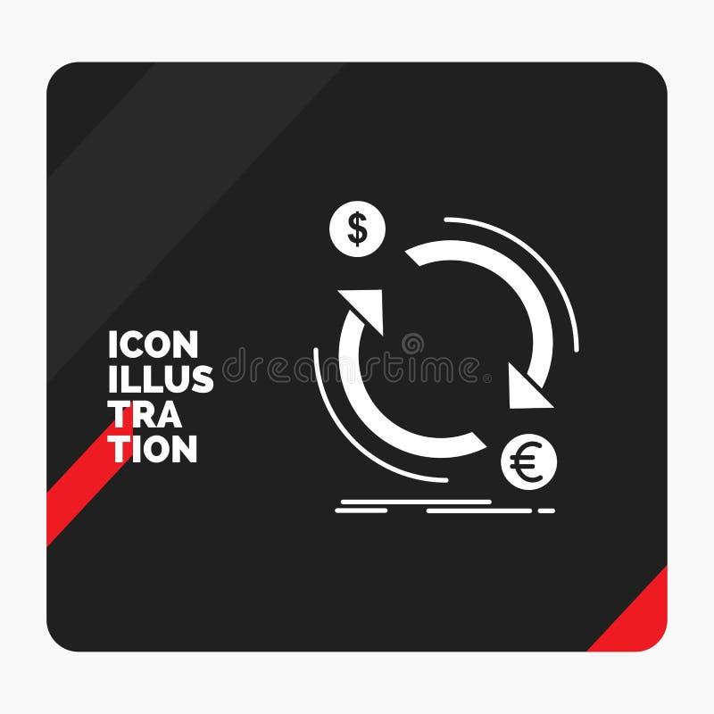 Roter und schwarzer kreativer Darstellung Hintergrund für Austausch, Währung, Finanzierung, Geld, Bekehrter Glyph-Ikone vektor abbildung