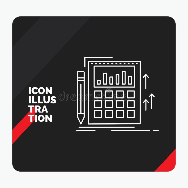 Roter und schwarzer kreativer Darstellung Hintergrund für das Erklären, Rechnungsprüfung, Bankwesen, Berechnung, Taschenrechner L stock abbildung