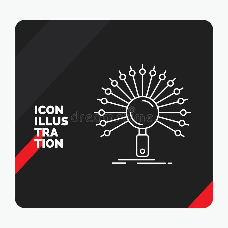 Roter und schwarzer kreativer Darstellung Hintergrund für Daten, Informationen, informierend, Netz, Wiederherstellung Linie Ikone stock abbildung
