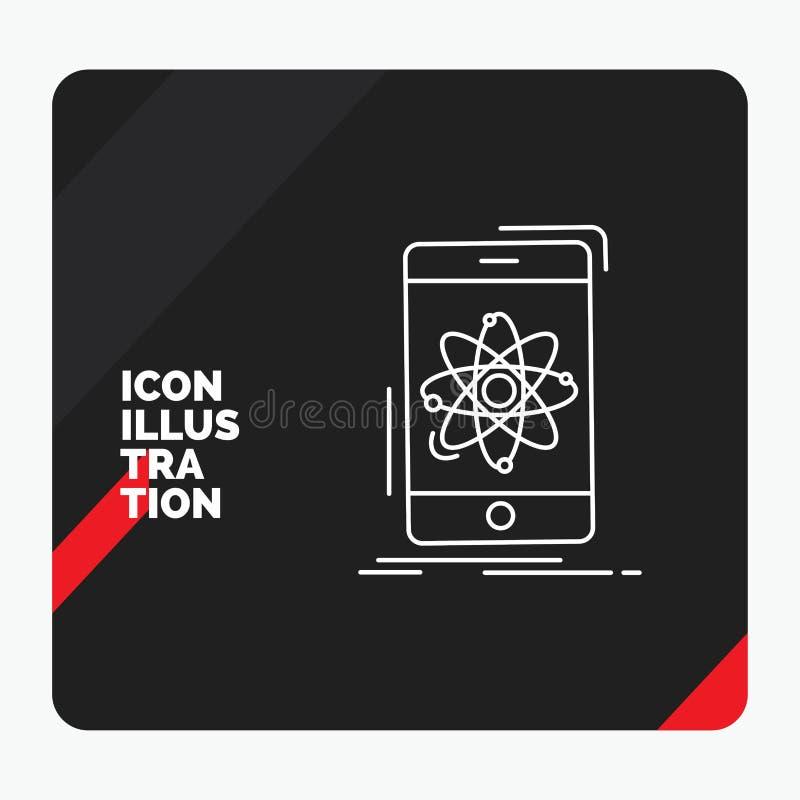 Roter und schwarzer kreativer Darstellung Hintergrund für Daten, Informationen, Mobile, Forschung, Wissenschaft Linie Ikone vektor abbildung