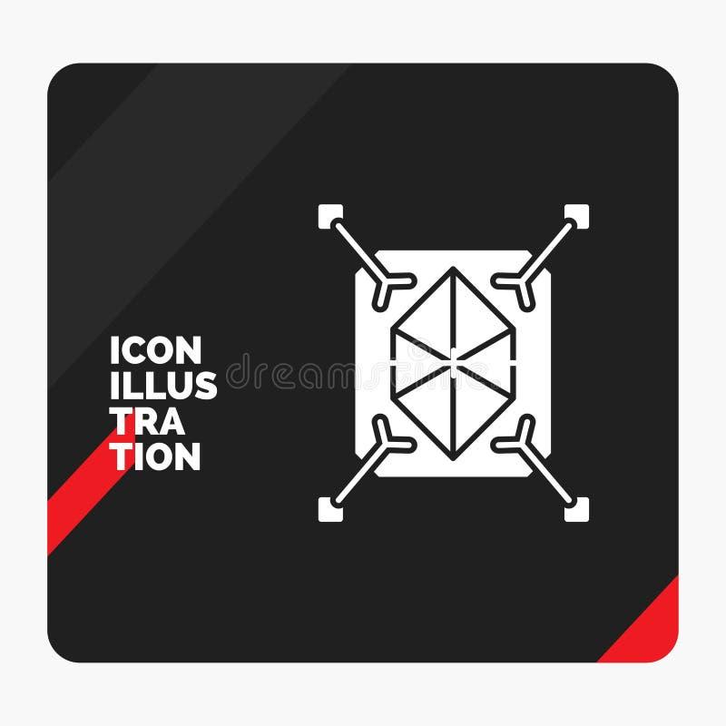 Roter und schwarzer kreativer Darstellung Hintergrund für Gegenstand, Erstausführung, schnell, Struktur, Ikone des Glyph-3d stock abbildung