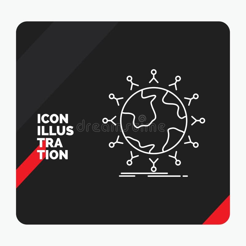 Roter und schwarzer kreativer Darstellung Hintergrund für globales, Student, Netz, Kugel, Kinder zeichnen Ikone lizenzfreie abbildung