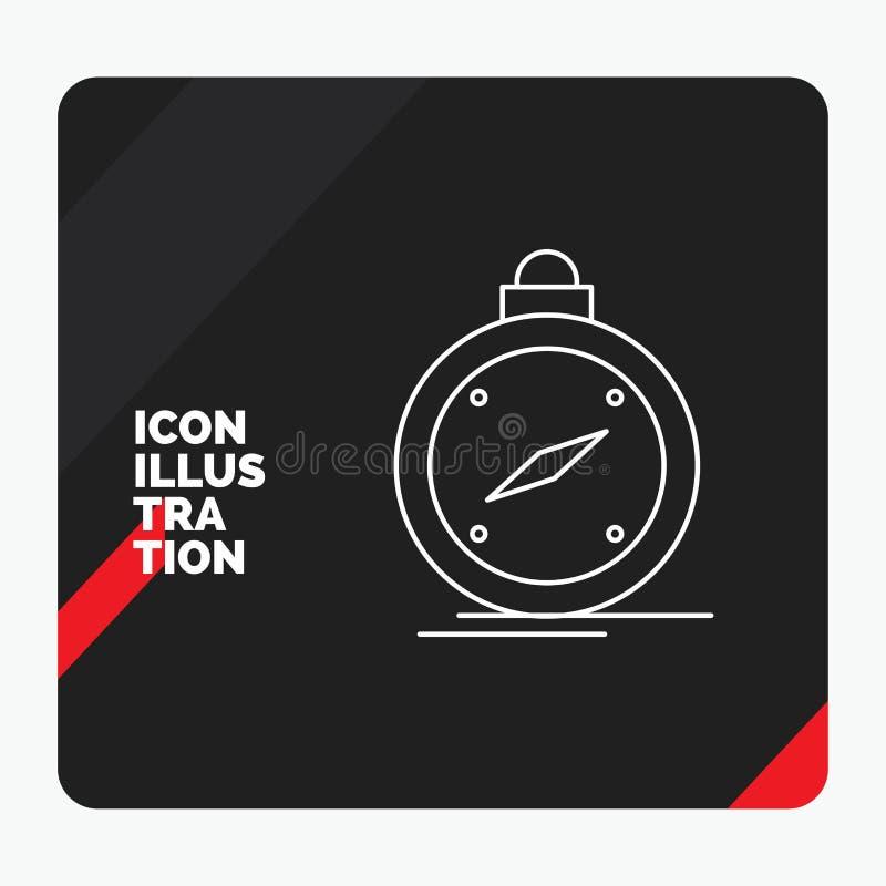 Roter und schwarzer kreativer Darstellung Hintergrund für Kompass, Richtung, Navigation, gps, Standort Linie Ikone stock abbildung