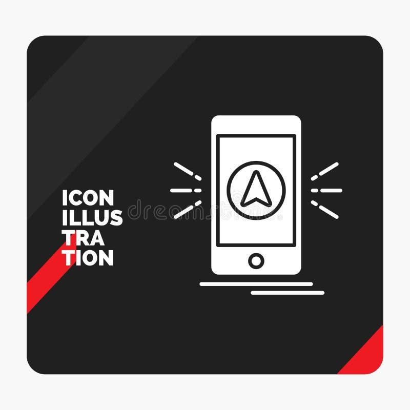 Roter und schwarzer kreativer Darstellung Hintergrund für Navigation, App, kampierend, gps, Standort Glyph-Ikone lizenzfreie abbildung