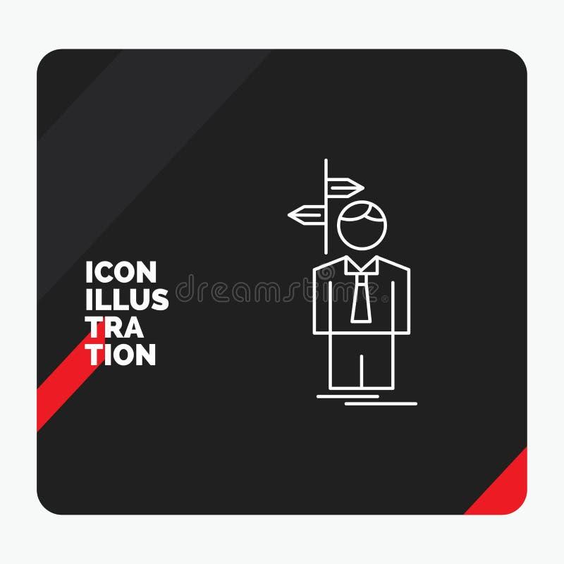 Roter und schwarzer kreativer Darstellung Hintergrund für Pfeil, Wahl, wählen, Entscheidung, Richtung Linie Ikone vektor abbildung