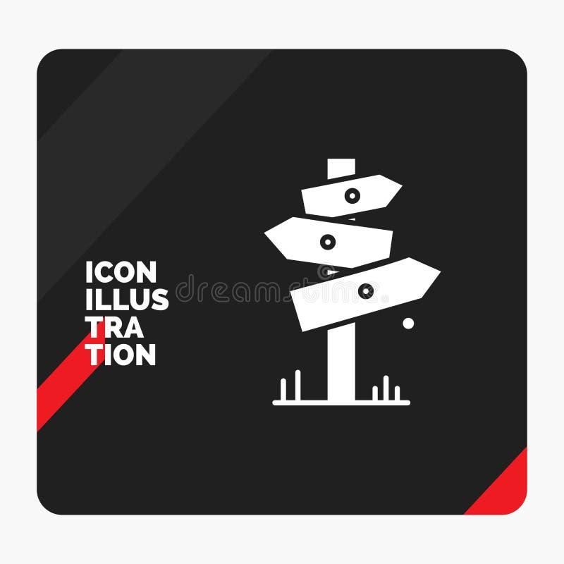 Roter und schwarzer kreativer Darstellung Hintergrund für Richtung, Brett, kampierend, Zeichen, Aufkleber Glyph-Ikone lizenzfreie abbildung