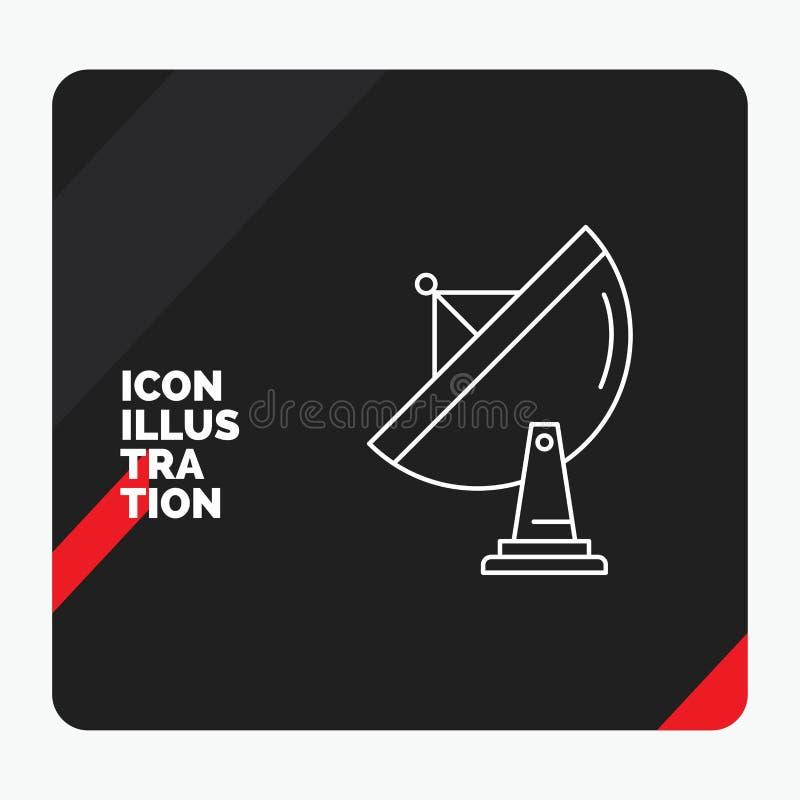 Roter und schwarzer kreativer Darstellung Hintergrund für Satelliten, Antenne, Radar, Raum, Teller Linie Ikone lizenzfreie abbildung