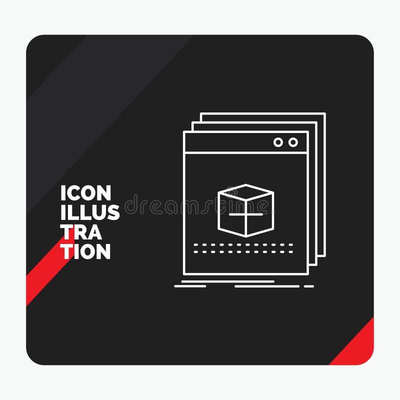 Roter und schwarzer kreativer Darstellung Hintergrund für Software, App, Anwendung, Datei, Programmzeile Ikone lizenzfreie abbildung