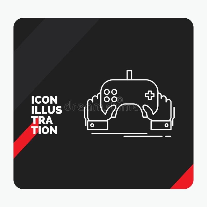 Roter und schwarzer kreativer Darstellung Hintergrund für Spiel, Spiel, Mobile, Unterhaltung, App Linie Ikone lizenzfreie abbildung