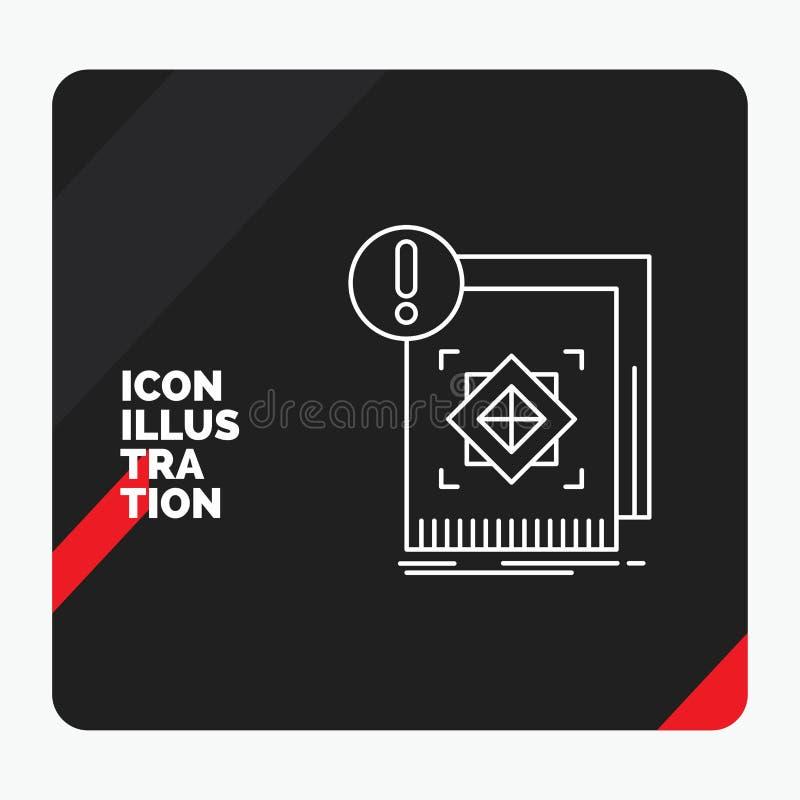 Roter und schwarzer kreativer Darstellung Hintergrund für Struktur, Standard, Infrastruktur, Informationen, wachsame Linie Ikone stock abbildung