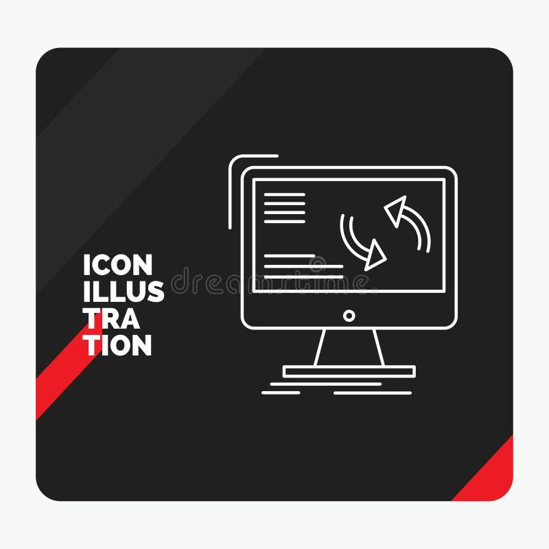 Roter und schwarzer kreativer Darstellung Hintergrund für Synchronisierung, Synchronisierung, Informationen, Daten, Computer Lini vektor abbildung